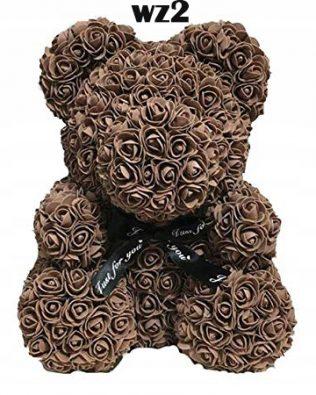 Miś z Różyczek z Kokardką – Brązowy 25 cm (Box + Płatki Róż)