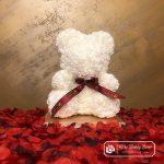 Biały Miś z Róż (Pudełko Prezentowe + Płatki Róż)