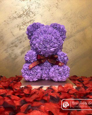 Fioletowy Miś z Róż ze Wstążką 40 cm
