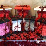 Miś z Róż z Czerwonym Sercem – Różowy 40 cm (Box + Płatki Róż)