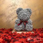 Szary Miś z Róż  + GiftBox + Płatki Róż