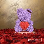 Miś z Różyczek z czerwonym sercem – Fioletowy 40 cm