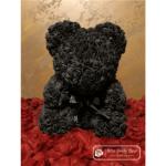 Czarny Miś z Róż (Pudełko Prezentowe + Płatki Róż)
