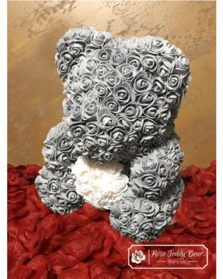 Miś z Różyczek z Białym Sercem – Szary 40 cm (BOX + Płatki RÓŻ)