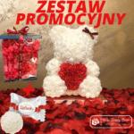 Biały Miś z Róż z Serduszkiem – 40 cm Box + Płatki Róż + RAFAELLO – CENA ZA ZESTAW