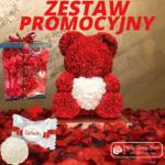 Czerwony Miś z Róż z Serduszkiem – 40 cm Box + Płatki Róż + RAFAELLO – CENA ZA ZESTAW