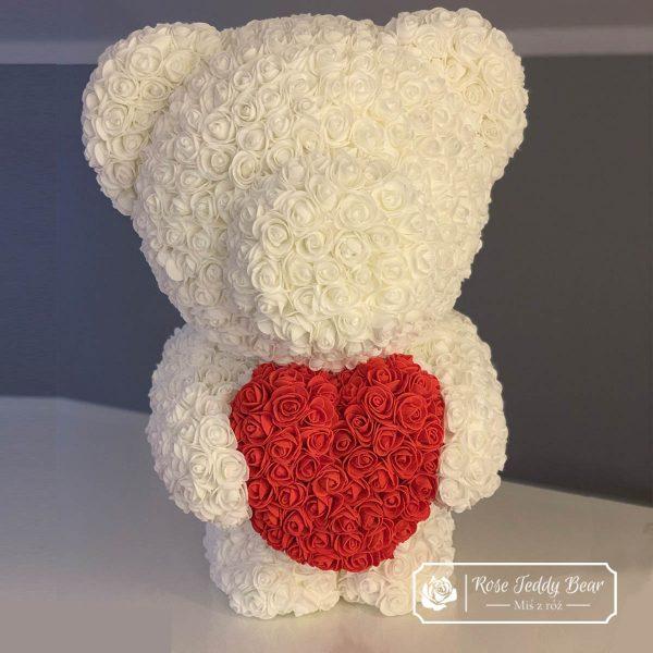 Miś z róż 60cm biały z czerwonym sercem