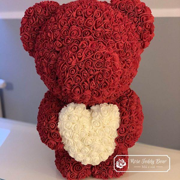 Miś z róż 60cm burgundowy z białym sercem