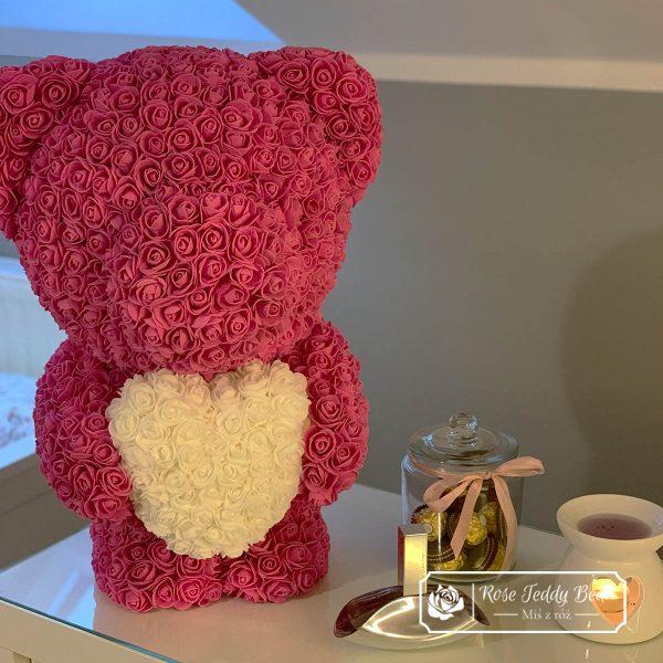 Miś z róż 60cm różowy z białym sercem