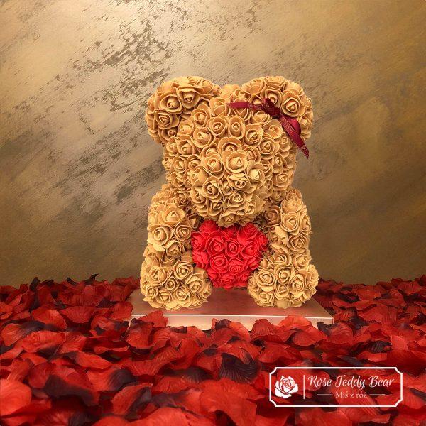 mis-z-roz-Kawa-40cm-sercem-i-wstazka