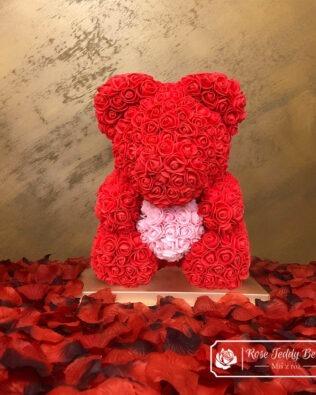Czerwony Miś z Róż z Różowym Serduszkiem – 40 cm