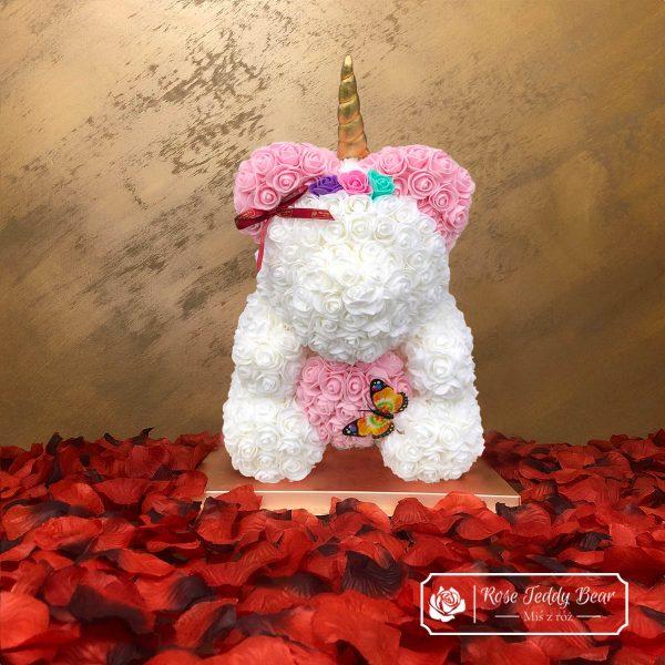 Miś z róż - unicorn biały z różowym sercem