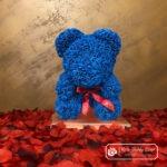 Granatowy Miś z Róż ze Wstążką – 40 cm