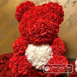 Mis z róż Czerwony z Białym Sercem